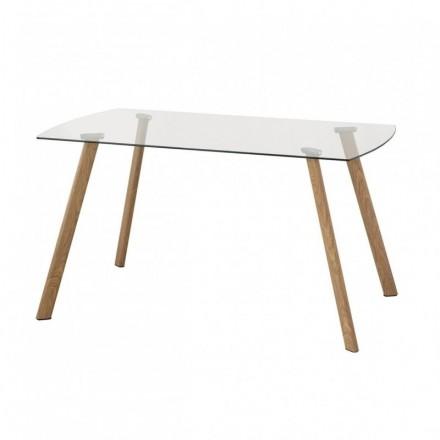 Mesa de comedor de diseño nórdico TALISMÁN cristal transparente y patas de metal color roble 140x80 cm