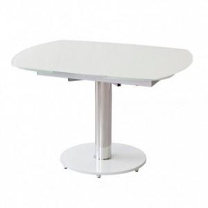 Mesa de comedor extensible DELFÍN cristal templado blanco óptico y pie de metal cromado 115/180x100 cm