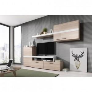 Mueble de salón modular MARCOS color roble sonoma y blanco de 260 cm