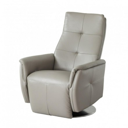 Sillón relax RODEO tapizado en piel y polipiel con sistema de relax manual y mecanismo giratorio
