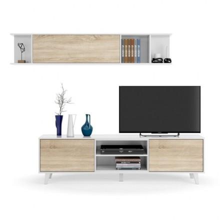 Conjunto salón de Mueble TV y estantería de diseño nórdico ZAIKEN