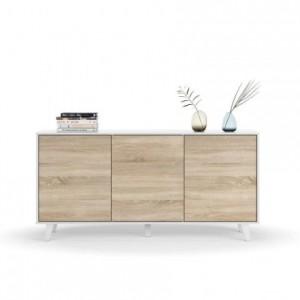Aparador de diseño nórdico ZAIKEN color blanco brillo, roble Canadian 154x41 cm