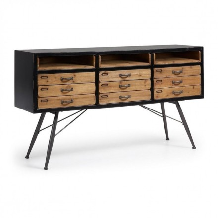 Aparador de diseño industrial FREE madera de abeto acabado envejecido y metal 155x40 cm