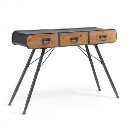 Consola de diseño industrial HELIA metal y madera de abeto acabado envejecido