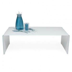 Mesa de centro 120X60 de cristal curvado y templado de una pieza color blanco MURANO WHITE