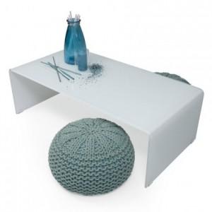 Mesa de centro de cristal curvado y templado de una pieza color blanco MURANO WHITE de 120x60 cm
