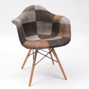 Sillón tapizado patchwork MONET tonos arena, inspiración sillón Tower de Eames