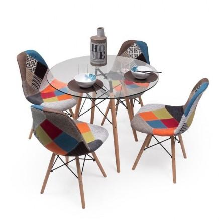 Conjunto de comedor TOWER Patchwork con mesa de cristal de 90 cm y 4 sillas Patchwork