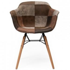 Silla de comedor con brazos tapizada en patchwork CLIDE inspiración silla Tower de Eames