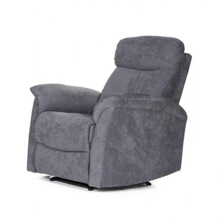 Sillón relax NAPOLEÓN tapizado en tela gris con sistema de relax manual