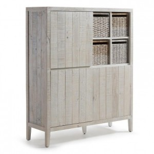 Aparador alto WOODY madera de pino reciclada 117x40 cm