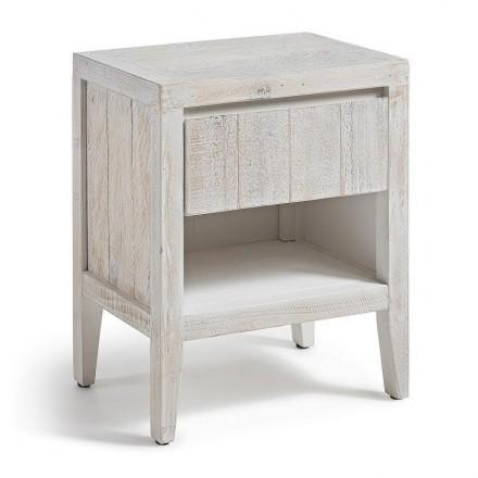 Mesita de noche WOODY madera de pino reciclada acabado envejecido blanco