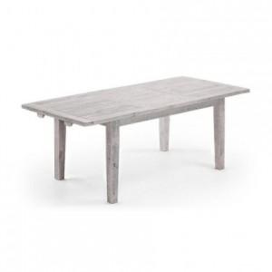 Mesa de comedor extensible WOODY madera de pino reciclada 160/220x90 cm