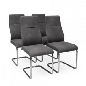 Pack de 4 sillas de comedor MIEL tapizadas en tela napa y polipiel y pata omega cromada