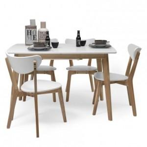 Conjunto de comedor de diseño nórdico MELAKA mesa extensible y 4 sillas