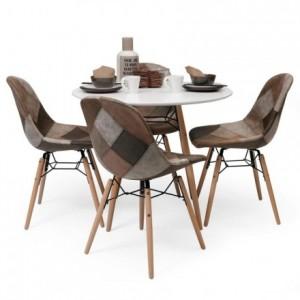 Conjunto de comedor de diseño nórdico BONIE & CLIDE mesa redonda 90 cm y 4 sillas patchwork inspiración Eames