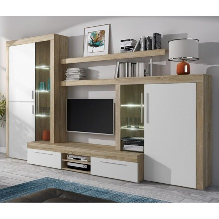 Mueble de salón modular MENORCA II con mueble tv y vitrinas color roble y blanco