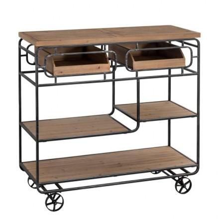 Estantería de diseño industrial WILLOW metal y madera de abeto