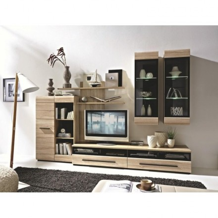 Mueble de salón modular FOREST color roble con cristal y luz led de 280 cm