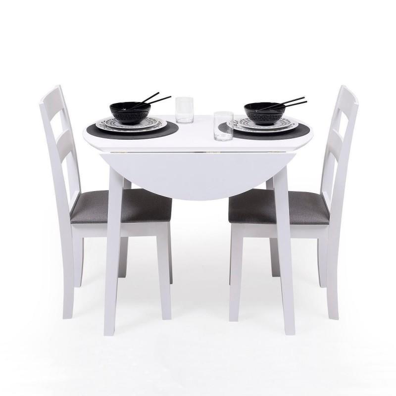 Conjunto de comedor DALLAS WHITE mesa de comedor redonda extensible y 2 sillas de comedor
