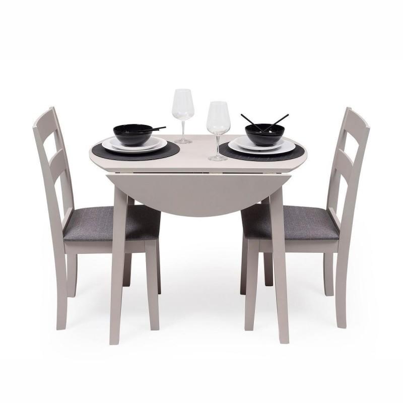 conjunto mesa madera redonda y sillas comedor