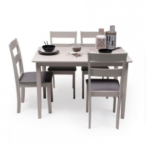 Conjunto de comedor KANSAS & DALLAS GRAY mesa y 4 sillas de comedor color gris