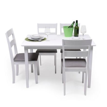 Conjunto de comedor KANSAS & DALLAS WHITE mesa y 4 sillas de comedor color blanco