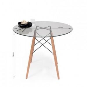 Mesa de cocina o comedor redonda TOWER VINTAGE sobre de cristal de 90 cm y pie central tipo Eames