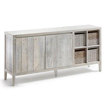 Aparador WOODY madera de pino reciclada 176x40 cm