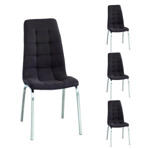 Pack de 4 sillas de comedor ALEX tapizadas en tela y patas de metal cromadas