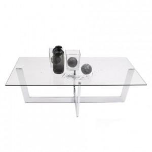 Mesa de centro ARAC cristal templado y estructura de acero cromado