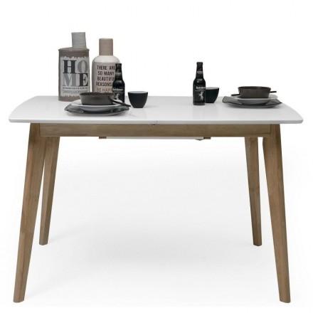 Mesa de comedor extensible MELAKA sobre lacado blanco y patas de madera de roble
