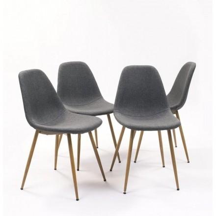 Pack de 4 sillas de comedor CAIRO tapizadas en tela gris patas metálicas imitación madera