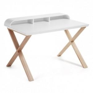 Mesa de escritorio de diseño nórdico SUCESS sobre lacado blanco y pies de madera de fresno 120x79 cm