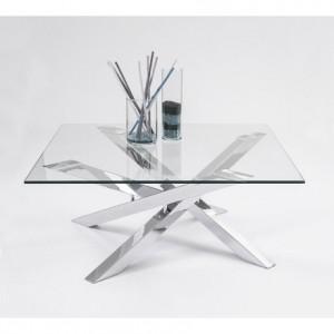Mesa de centro cuadrada KADOS cristal templado y pies de acero cromado