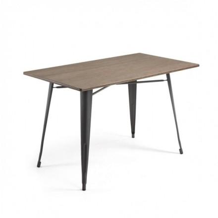 Mesa metálica industrial MALIBU acero y bambú color grafito 150x80 cm