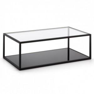 Mesa de centro GREENHILL cristal templado y estructura de acero negro 110x60