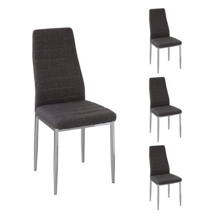 Pack de 4 sillas de comedor BÁSICA tapizadas en tela gris y patas cromadas