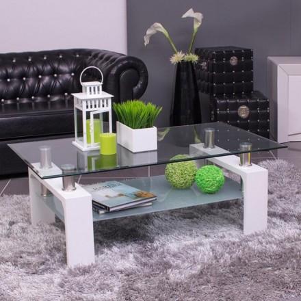 Mesa de centro KENIA tapa y revistero de cristal y pies de mdf