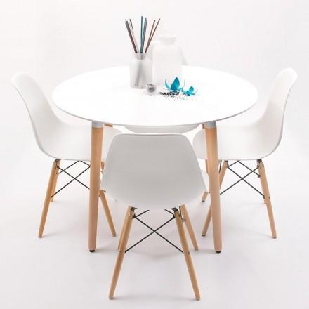 Conjunto de comedor NORDIK-MAX mesa redonda de 100 cm lacada blanca y 4 sillas Eames