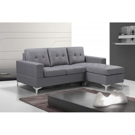 Sofá chaiselongue VERA tapizado en tela gris de 200 cm