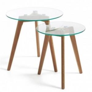 Set de dos mesas auxiliares BRICK cristal transparente y pies en madera