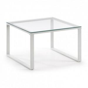 Mesa de centro NAVIS cristal templado y base de acero blanco