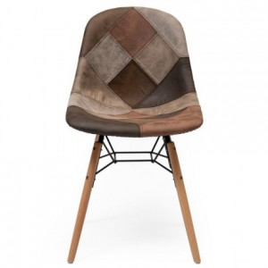Silla de comedor tapizada en patchwork BONIE inspiración silla Tower de Eames