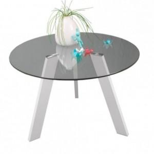 Mesa de comedor redonda de cristal TRIPODE  con patas metal