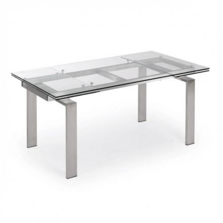 Mesa de comedor extensible CORONA sobre de cristal templado y estructura de acero 160/240x85 cm