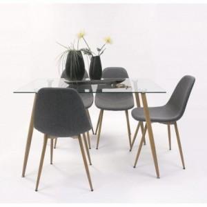 Conjunto de comedor CAIRO con mesa de cristal de 120x80 y 4 sillas tapizadas