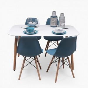 Conjunto de comedor NORDIK-MAX con mesa lacada blanca de 130x80 y 4 sillas Eames