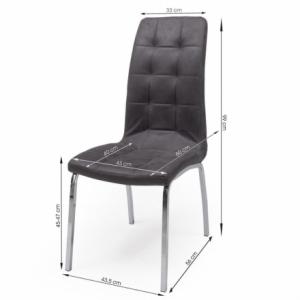 Conjunto de comedor DALILA mesa redonda de cristal de 110 cm de diámetro y 4 sillas de polipiel y patas de acero
