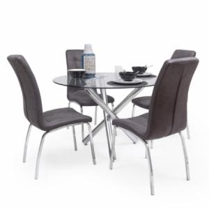 Conjunto de comedor BRISA mesa redonda de cristal de 100 cm de diámetro y 4 sillas de polipiel y patas de acero